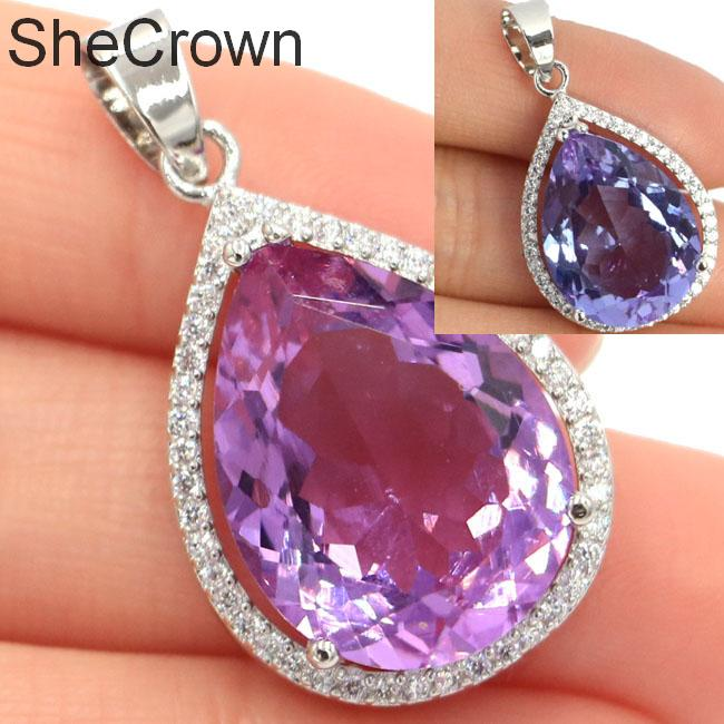 32x19mm SheCrown Water Drop 20x15mm Gemstone Color Changing Alexandrite & Topaz White CZ Gift For Ladies Silver Pendant