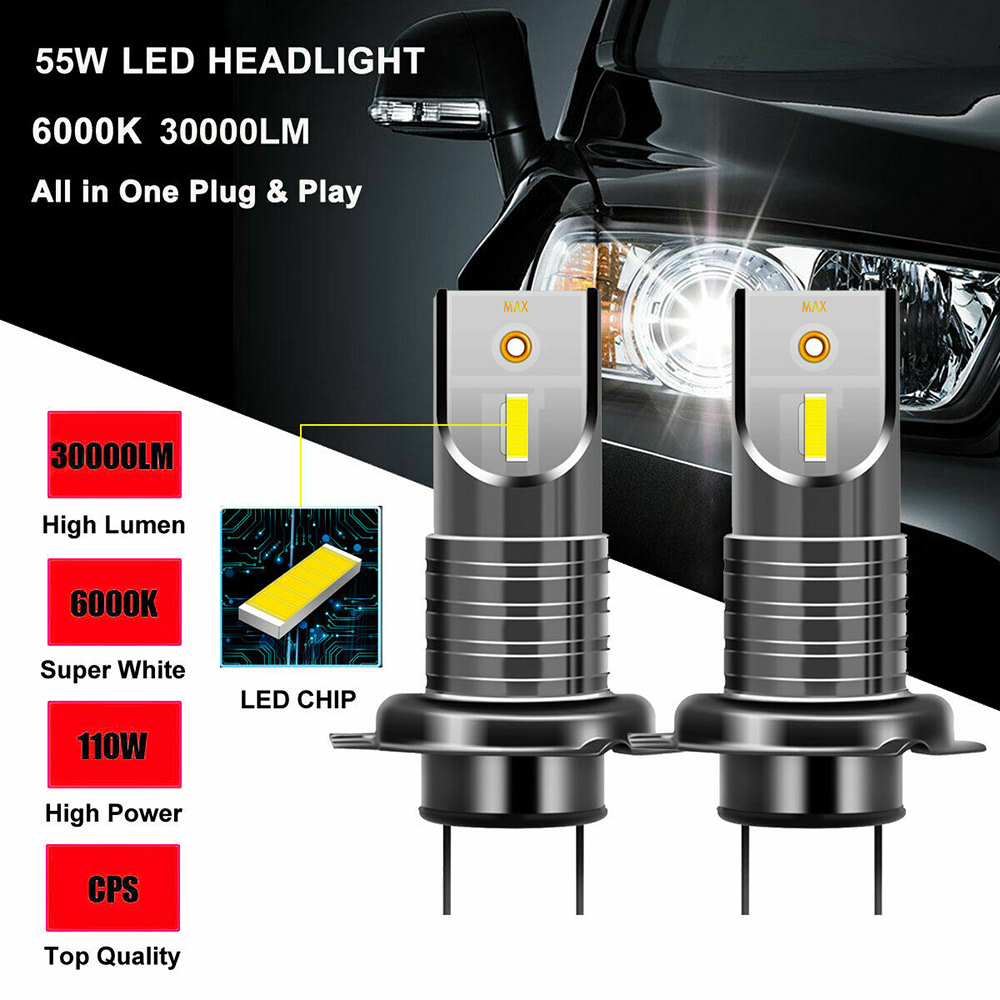 New Perfect 360 Degrees Beam 2Pcs <font><b>H7</b></font> IP68 110W <font><b>30000LM</b></font> 6000K 5050 CSP LED Headlight Kit Aviation Aluminum Lamp White Light CSV image