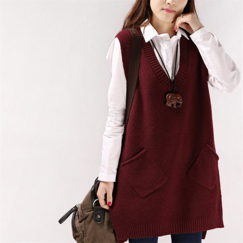 2019 Women Sweater Spring Autumn New Korean Women's V-neck Knit Long A-shaped Pocket Vest Pullover Sleeveless