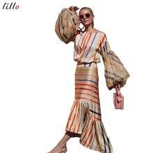 Асимметричное Полосатое платье с рукавами, модное повседневное темпераментное летнее платье с оборками, новый тренд, 2019