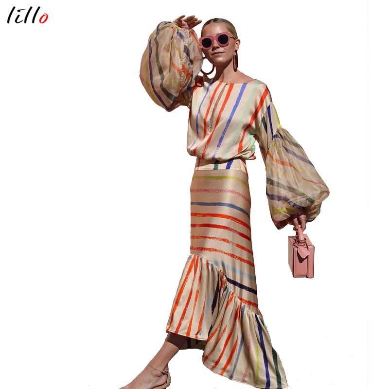 AsymmetricalLantern スリーブストライプドレスファッションカジュアル気質夏ドレスフリル新潮流 2019 ユニークなデザインセクシーなドレス -    グループ上の レディース衣服 からの ドレス の中