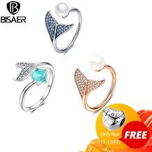 [Kopen 4 Meer Besparen 5%] Bisaer 100% 925 Sterling Zilver Vrouwelijke Mermaid Tail Verstelbare Vinger Ringen Voor Vrouwen bruiloft Engagement