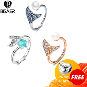 Image 1 - [Kopen 4 Meer Besparen 5%] Bisaer 100% 925 Sterling Zilver Vrouwelijke Mermaid Tail Verstelbare Vinger Ringen Voor Vrouwen bruiloft Engagement