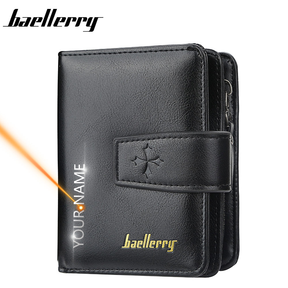 2020 Free Name Engraving Men Wallets Zipper Card Holder High Quality Male Purse New PU Leather Coin Holder Men Wallets Carteria