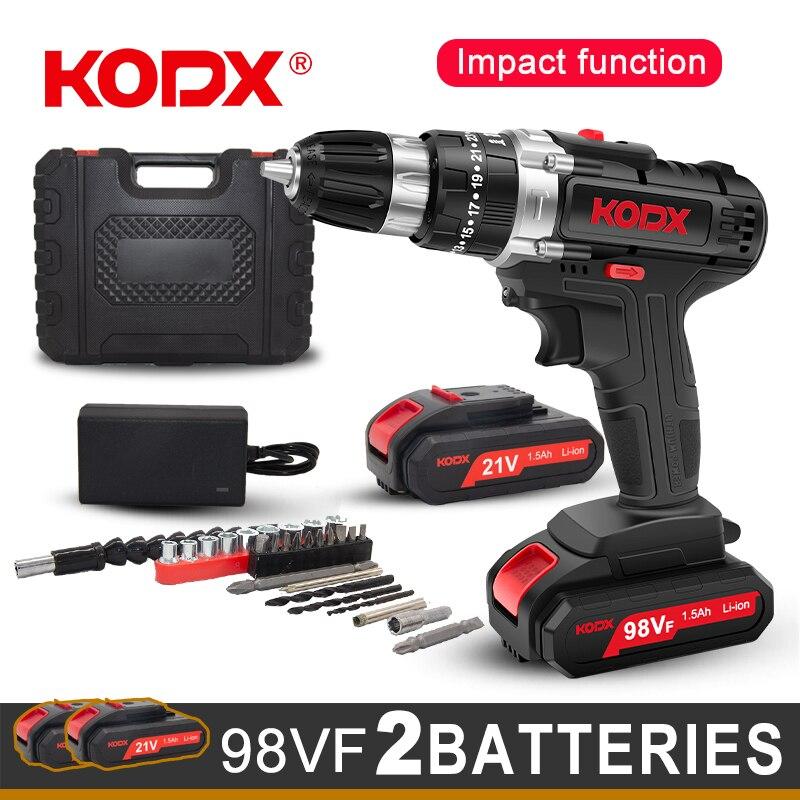 KODX Neue Akku-bohrschrauber Elektrische Schraubendreher Mini Wireless Power Fahrer DC Lithium-Ionen Batterie 3/8-Zoll 2 Geschwindigkeit power Tools