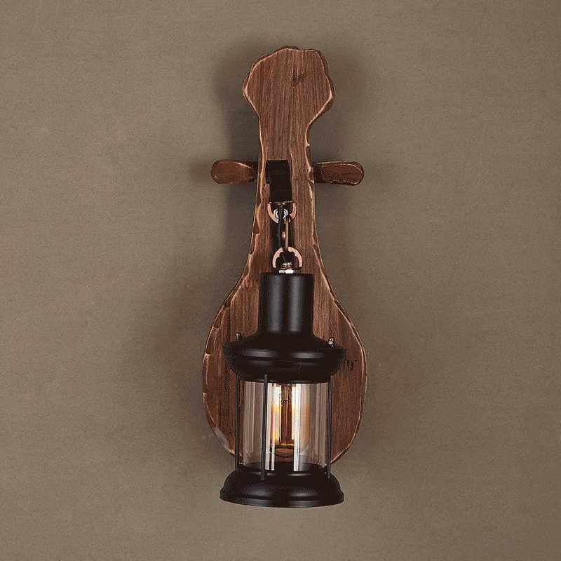 Винтажный деревянный стеклянный светодиодный настенный светильник Промышленный бра ночник с подставкой прикроватный Ресторан Лофт домашний декор свет стеновой в коридоре
