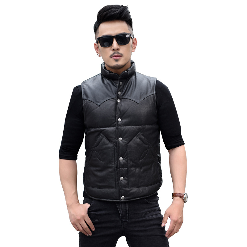 Free Shipping.Brand New Warm Goatskin Vest,genuine Leather Clothing.white Duck Down Jacket,fashion Style Coat.sales