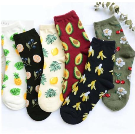 New Women's Socks Korea Fresh Fruit Socks Lemon Avocado Pineapple Cherry Blueberry Orange Hazelnut Banana Style Socks S-8