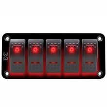 home improvement 12V-24V 5 Gang red Rocker Switch Panel Circuit Breaker Boat Marine Waterproof