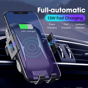 Image 1 - 10W 15W Qi Car Wireless Charger Air Vent Mount Phone Holder Full automatic Fast Charging For Samsung Galaxy S9 S10 iPhone X
