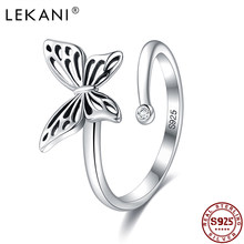 Lekani 925 anel de prata esterlina borboleta anéis abertos para as mulheres do vintage punk bonito gato pérola anéis para meninas jóias de casamento 2021