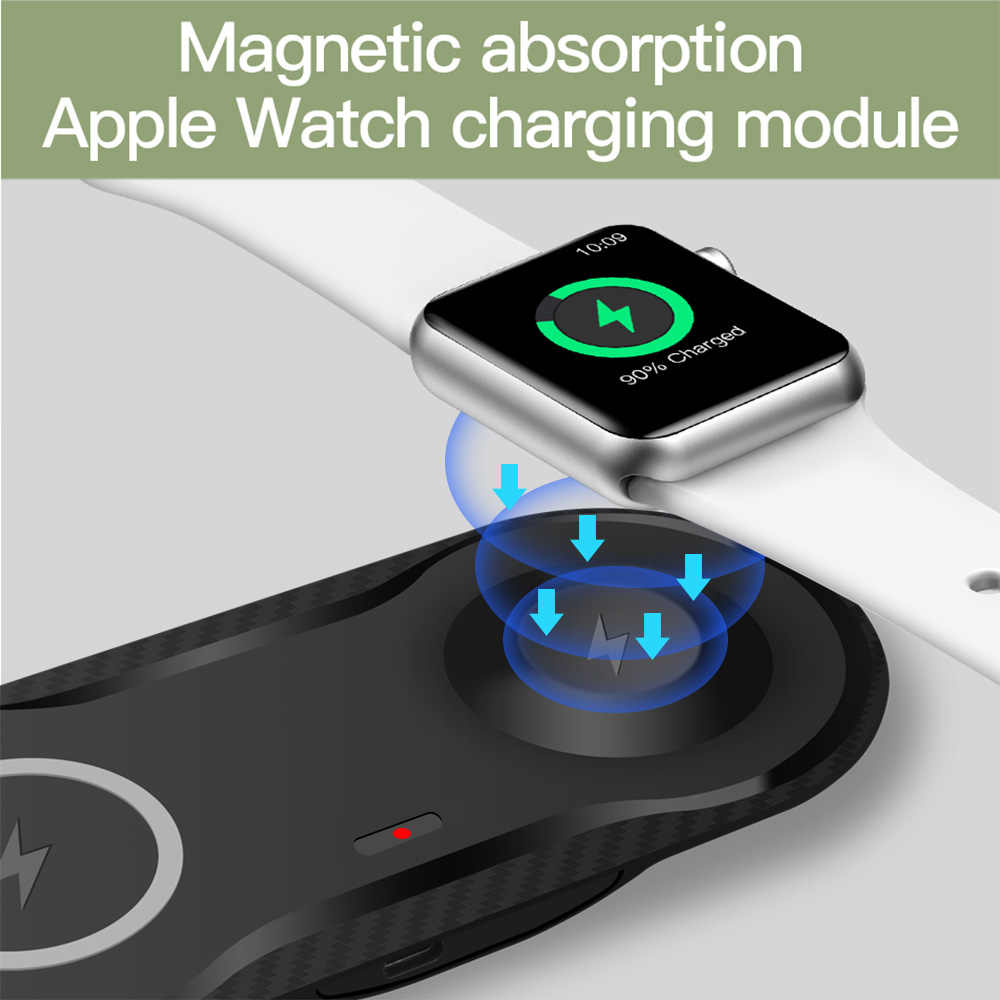 FDGAO אלחוטי מטען Pad עבור אפל שעון 5 4 3 2 iWatch Airpods צ 'י מהיר טעינת Dock תחנה עבור iPhone 11 פרו XS Max XR X 8