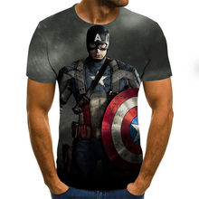 S-6XL Men's 3D Movie Theme Sports Round Neck T-Shirt 3D printed planet and shield fashion and comfortable short-sleeved T-shirt