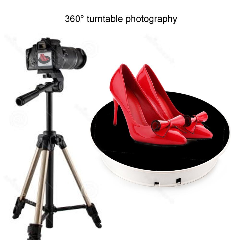 UNTCENT 30cm Stylish Black Velvet Top Electric Rotating Display Turntable, Maximum Load 5kg For Jewelry Party Cake Display Stand