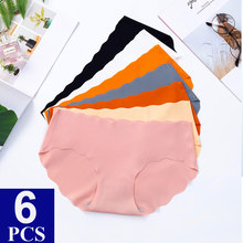 6PCS/Lot Ice Silk Underwear Women Seamless Panties High Quality Tangas Women Sexy Solid Low-Rise Lingerie Brief For Ladies Thong