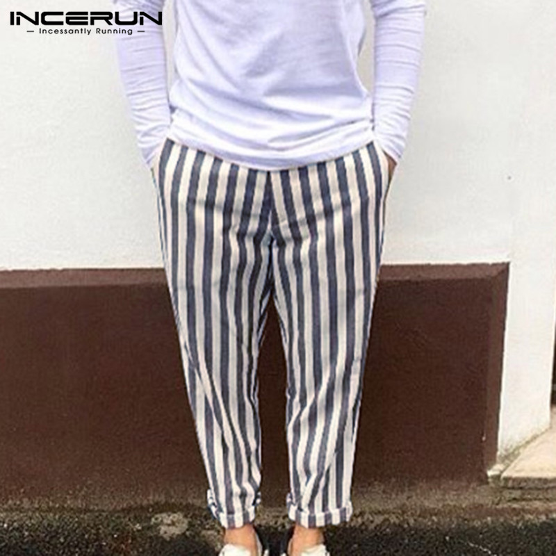 INCERUN Fashion Men Harem Pants Striped Joggers Streetwear Workout Chic Drawstring Trousers Men Hip-hop Casual Long Pants 2020