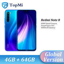 Versão global xiaomi redmi nota 8 4gb ram 64gb rom celular 48mp quad camera snapdragon 665 6.3