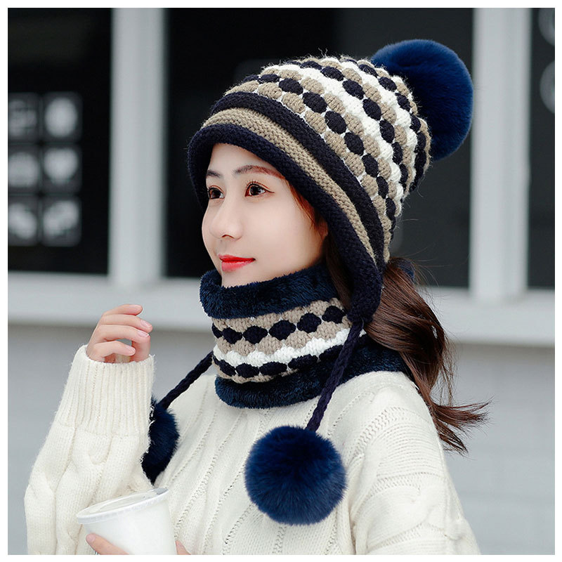 Winter Hats And Scarf Women Thick Warm Beanie Skullies Hat Female Knitted Striped Bonnet Beanie Cap Outdoor Unisex Hat And Scarf