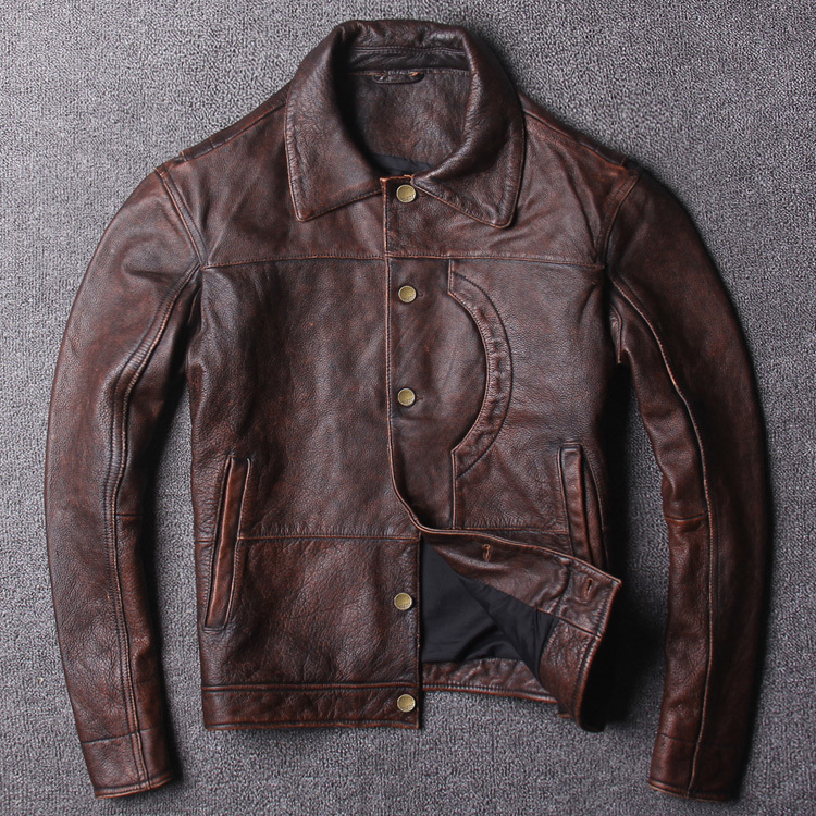 DHL Free Shipping. New Handsome  Style Clothing Mens Casual Red Vintage Leather Jacket,man Fashion Genuine Leather Jacket.