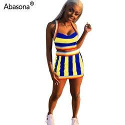 Abasona/Новое разноцветное Полосатое платье без рукавов на бретельках с коротким верхом, мини-платье с эластичной резинкой на талии, модный