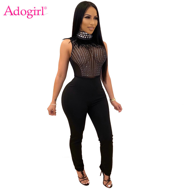 Adogirl 2020 Spring Feather Crystal Diamonds Sheer Mesh Jumpsuit Turtleneck Sleeveless Women Sexy Night Club Romper Overalls