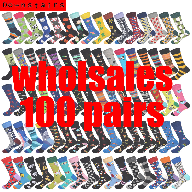 Downstairs 100 Pairs/lot Wholesales Happy Socks Men 600+ Patterns High-quality Calcetines Hombre Contact Services First