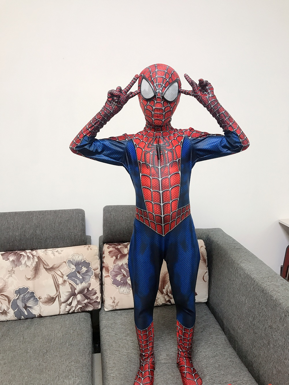 2019 New Spiderman Costume Kids Adult Polyester Fiber (Polyester)Spider-man Costume For Halloween Mascot Cosplay
