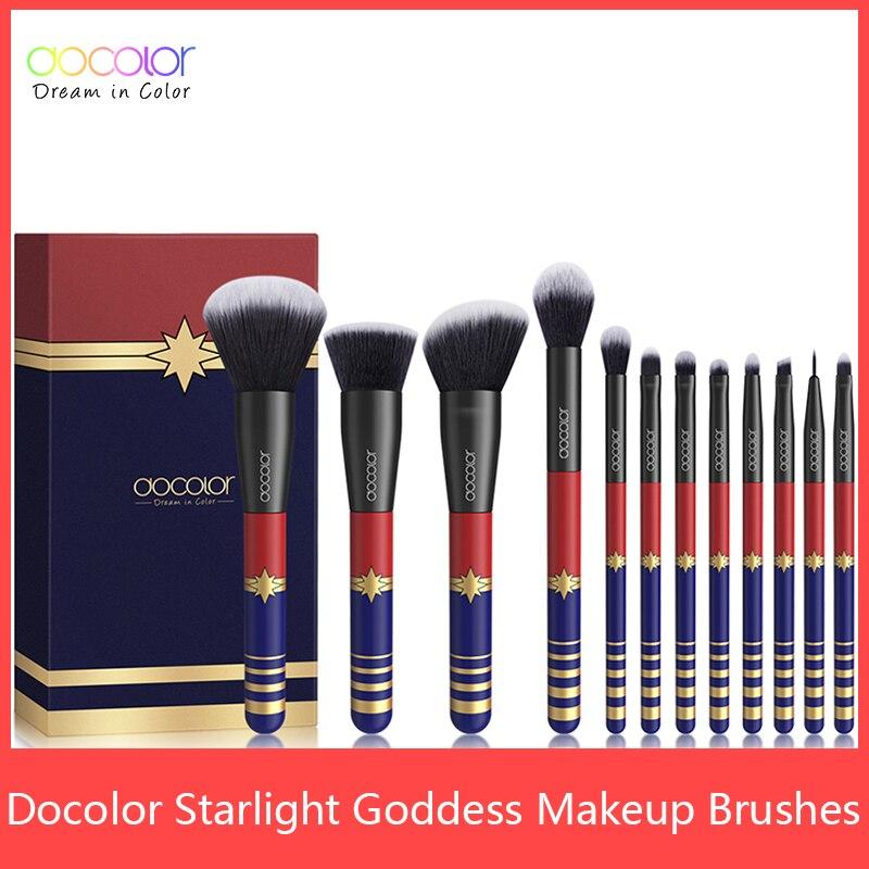 Docolor Brochas de maquillaje de pelo sintético, profesional, base en polvo, sombra de ojos, juego de 12 uds.