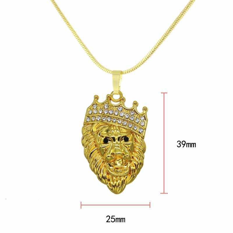 Groothandel Mannen En Vrouwen Rhinestone Crown Leeuw Tag Ketting Hanger Hip Hop Cubaanse Chain Hip Hop Ketting Gouden Sieraden Mannen