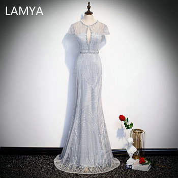 LAMYA Luxious Mermaid Evening Party Dress Sexy Beading Formal Dresses Customized Cap Sleeve Evening Gowns Robe De Soiree