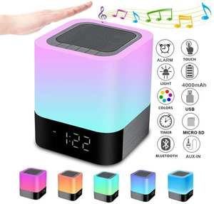 Bluetooth Speaker Lamp Alarm-Clock Multicolor Touch-Control Mp3-Player Night-Lights Bedside