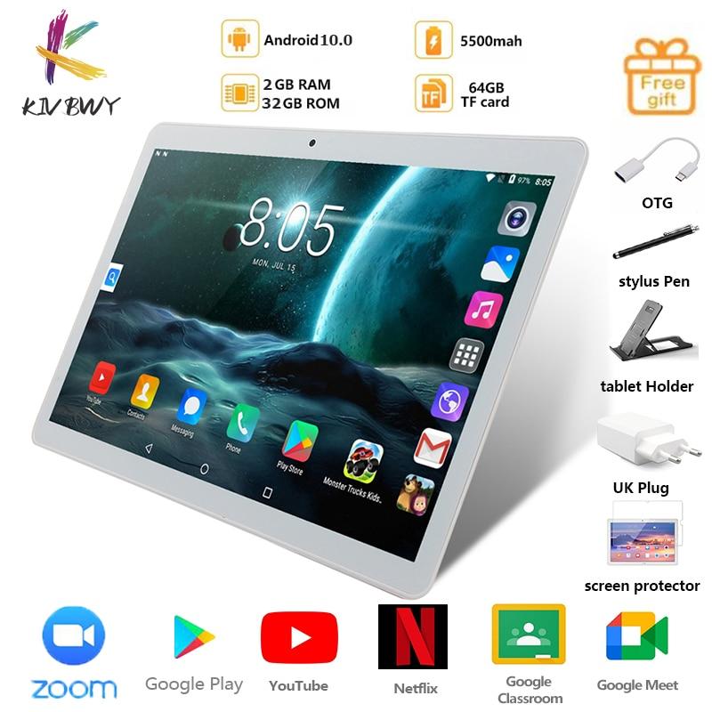 KIVBWY планшет 10,1 дюймов LTE 4G Телефонный звонок Планшеты Octa Core Android 10,0 Tablet pc 2 ГБ + 32 ГБ, Wi-Fi, GPS Bluetooth Dual SIM IPSScreen10
