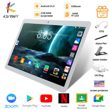 Kivbwy tablet 10.1 polegada lte 4g chamada de telefone comprimidos octa núcleo android 10.0 tablet pc 2 + 32g wifi gps bluetooth duplo sim ipsscreen10