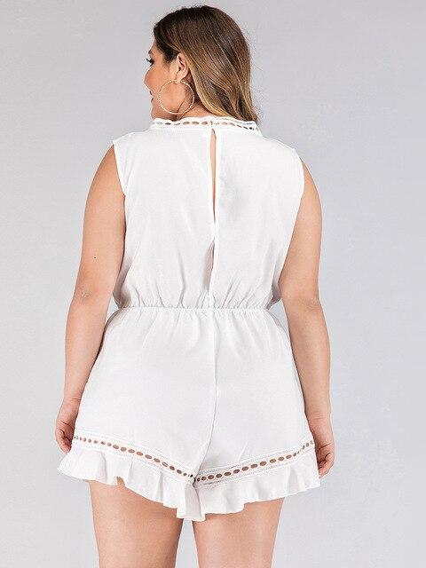 2020 fashion summer plus size jumpsuit for women large sleeveless loose casual V neck short jumpsuits belt white 3XL 4XL 5XL 6XL 2