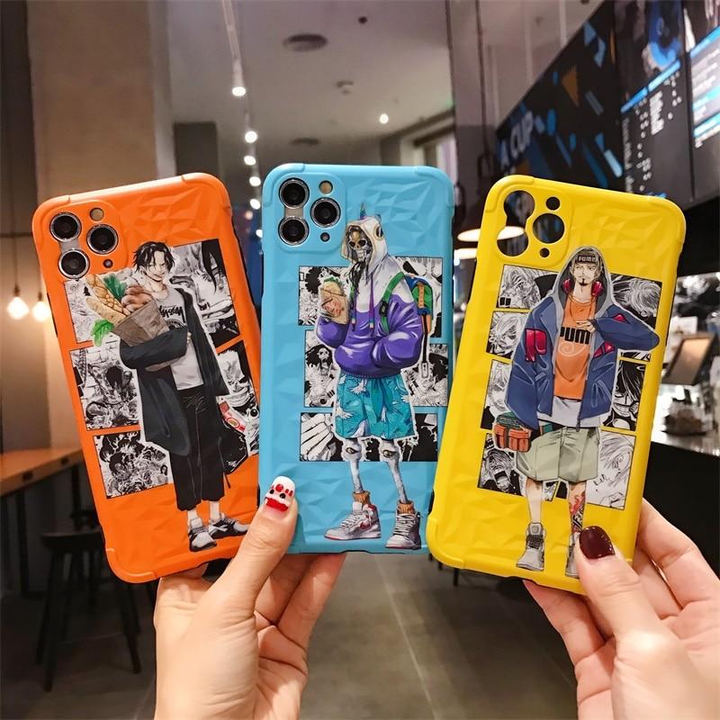 Funda de móvil suave de dibujos animados de una pieza de Anime japonés Luffy Tony Chopper ACE para Apple iPhone 11 Pro 7 8 Plus X XS Max Xr SE2 Vidrio Protector de cerámica para iPhone SE 2020 SE 2 SE2 Protector de pantalla para iPhone X XR Xs 11 Pro Max 7 8 6 6S Plus Vidrio Templado