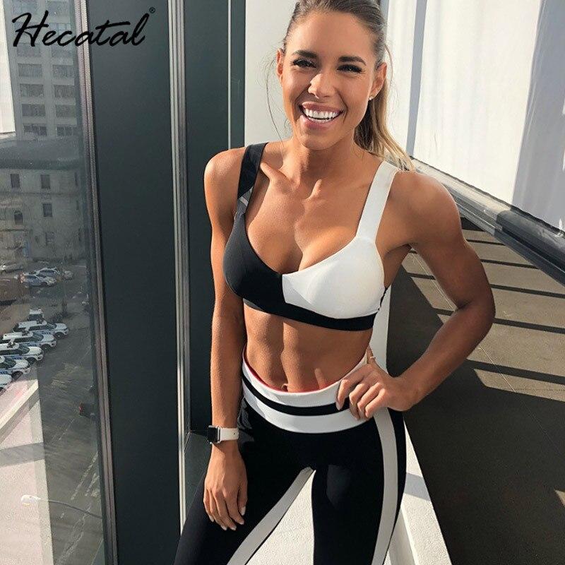 Ropa deportiva para mujer, conjunto de gimnasio para Fitness, traje de Yoga, Top deportivo + mallas, ropa de entrenamiento para correr, color blanco y negro|Conjuntos de yoga| - AliExpress