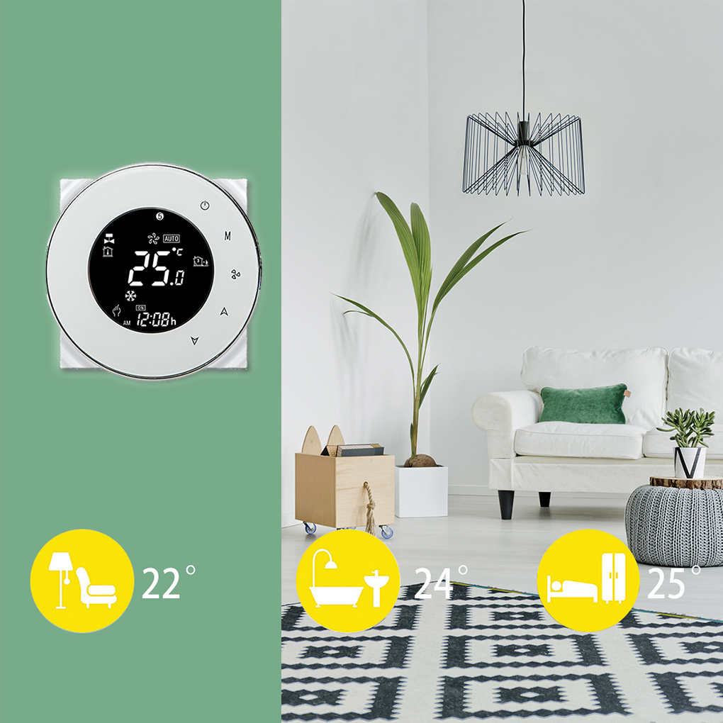 Round Thermostat  Central Air Conditioner Thermostat Programmable 2/4 Pipes Three Winds 110-240VAC Fireproof Timing Thermostat