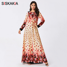 Siskakia Maxi Long Dress Elegant Velvet Hot Stamping Printin