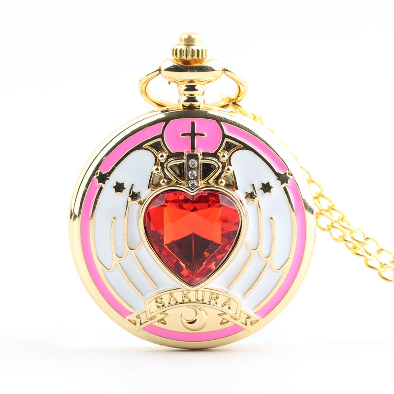 Pocket & Fob Watches Pink Quartz Heart Pocket Watch Necklace Pendant for Girls Gift
