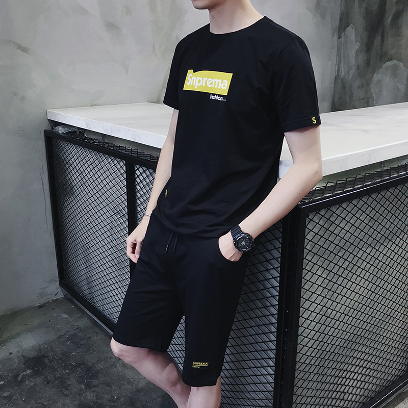 Sports Set Men 2019 New Style Trend Casual Two-Piece Set Summer Korean-style Short Sleeve Loose-Fit T-shirt Students