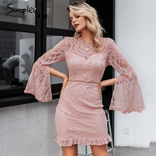 Simplee Sexy robe en dentelle transparente taille haute à manches longues gaine robe midi élégant bureau dame mince fleur courte robe de soirée