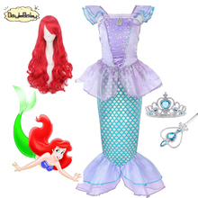 DAYLEBABY Children Clothes Little Mermaid Fancy Kid Girls Dresses Princess Ariel with Headband Cosplay Halloween