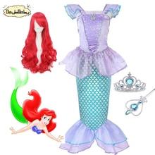 DAYLEBABY Children Clothes Little Mermaid Fancy Kid Girls Dresses Princess Ariel with Headband Cosplay Halloween