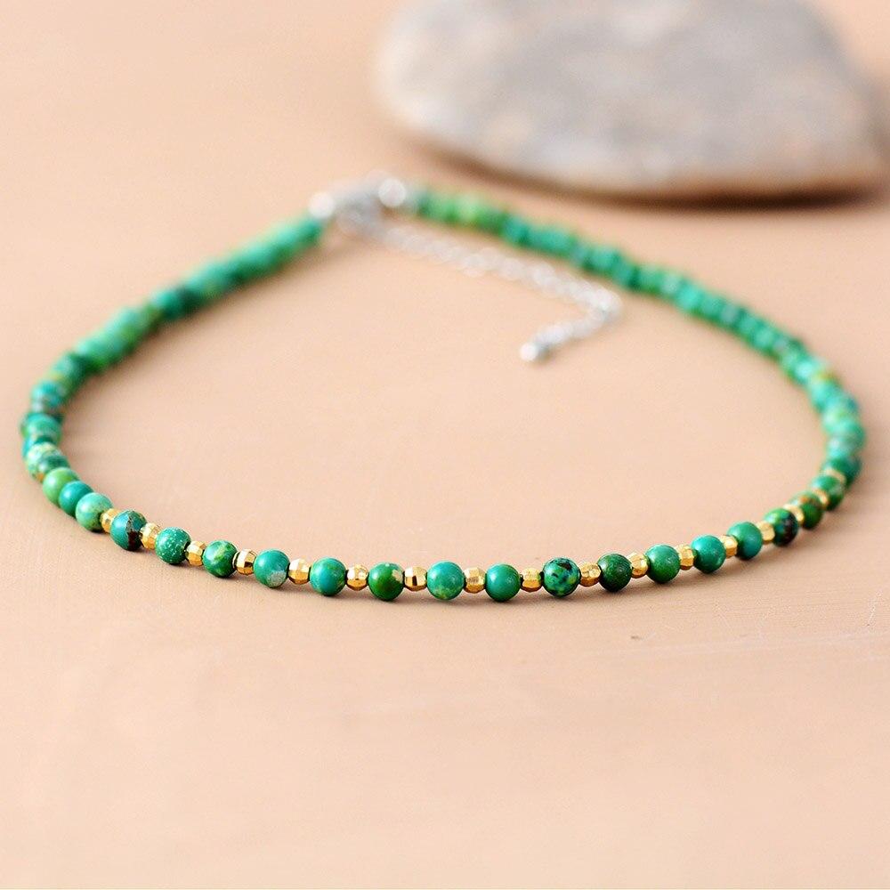Women Choker 4MM Natural Stone Gold Beads Choker Necklace 2018 Womens Simple Collar Necklace Neck Choker Bohemia Jewelry(China)