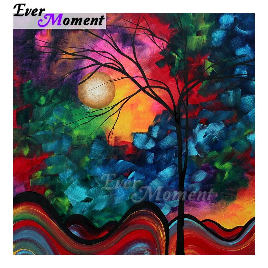 Ever Moment Diamond Painting Handmade Tree Sun Color Picture Of Rhinestone Cross Stitch 5D DIY Mosaic Diamond Embroidery ASF1739