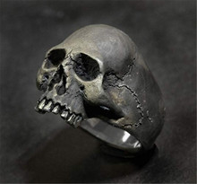Cool Fashion Men's Punk Vintage Skull Ring Gothic Horror Skull Biker Jewelry for Mens Motorcycle Party Steampunk Hip Hop Ring soqmo solid 925 silver skull pendant for biker man cool snake budda sculpture mens vintage gothic punk pendants jewelry sqm023