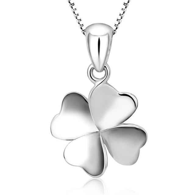 Купить женское ожерелье с четырьмя листьями серебристого цвета