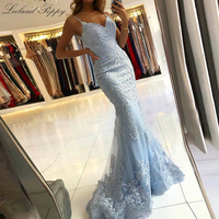 Lceland Poppy Elegant V neck Mermaid Evening Dresses Sleeveless Formal Evening Gowns Backless Lace Appliques Robe de Soiree