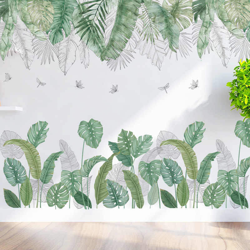 North Europe Tropical Leaves Wall Stickers On The Living Room Art Wall Decals Adhesive Wall Papper Room Decoration Home Decor Wall Stickers Aliexpress Free delivery and returns on ebay plus items for plus members. aliexpress