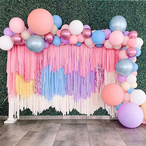 Image 2 - 2M Tinsel Rain Solid Party Backdrop Curtain Birthday Party Decorations Adult Kids Wedding Photograph Backdrop Fortnight Party